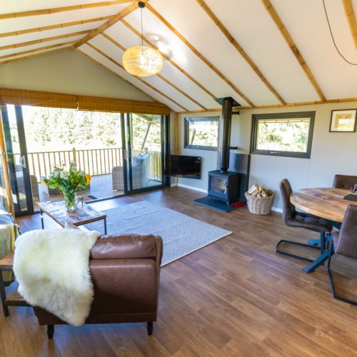 The living area inside a glamping lodge